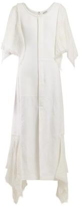 Loewe Handkerchief-sleeve Cotton Midi Dress - Womens - White