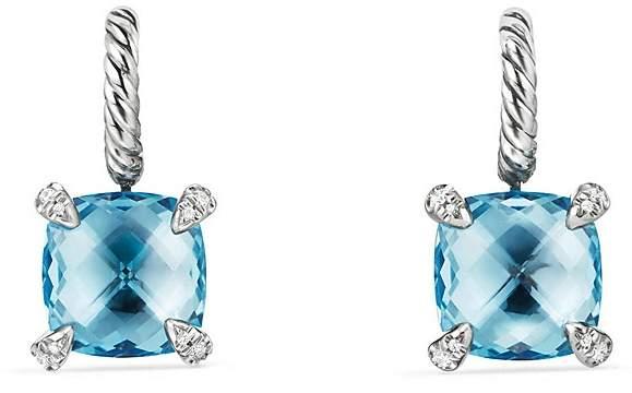 David Yurman Ch'telaine Drop Earrings with Blue Topaz and Diamonds