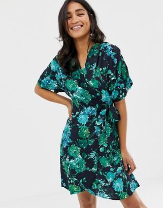 Closet London Closet Floral Kimono Sleeve Wrap Dress