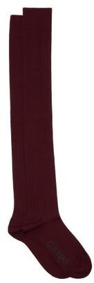 Ganni Cotton-blend Knee-high Socks - Womens - Brown