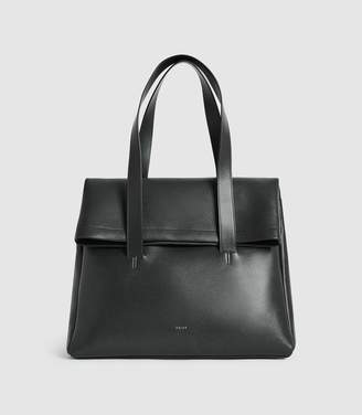 Reiss CARTER LEATHER FOLD OVER TOTE BAG Forest Green