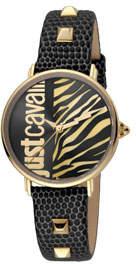 Just Cavalli Animal Watch w/ Leather Strap, Black/Gold