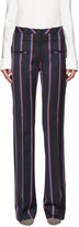 Altuzarra Navy Striped Serge Trousers