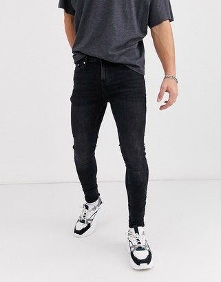 Topman super spray on jeans in washed black