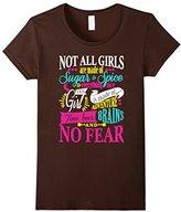 Women's Feminist Shirt Girl Power Sugar Spice Beer Brains No Fear Small
