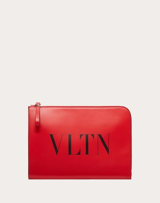 Valentino Uomo Vltn Leather Briefcase Man Pure Red/black 100% Pelle Bovina - Bos Taurus OneSize