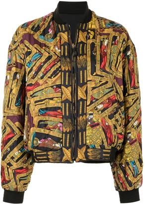 Pre-Owned Tarot Print Reversible Bomber Jacket