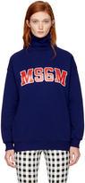 MSGM Blue Logo Turtleneck Sweatshirt