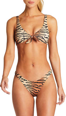 Vitamin A Lou Tiger Tie-Front Bust-Enhancing Bikini Top
