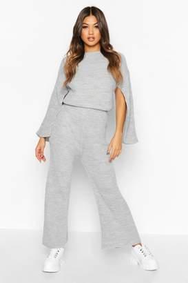 boohoo Knitted Split Sleeve Wide Leg Set