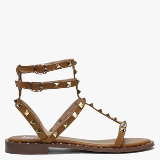 Df By Daniel Cuboid Tan Studded Gladiator Sandals