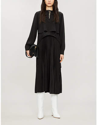 Sportmax Lari flared pleated silk midi dress