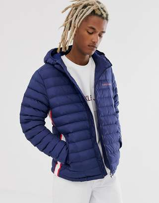 Calvin Klein Jeans padded hooded jacket in navy with small logo