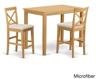 East West Furniture YAPB3-OAK Oak-finished Rubberwood 3-piece Counter Height Pub Dining Set