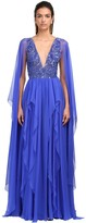 Thumbnail for your product : ZUHAIR MURAD Embellished Silk Chiffon Gown