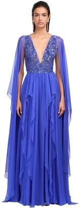 ZUHAIR MURAD Embellished Silk Chiffon Gown