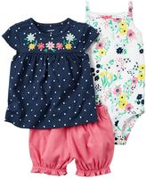 Carter's Baby Girl Floral Bodysuit, Polka-Dot Top & Bubble Shorts Set