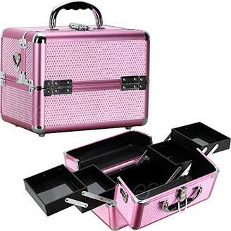 Ver Beauty 4-tiers expandable trays cosmetic makeup train case organizer travel - vk004