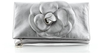 Chanel Camellia Fold Over Clutch Leather