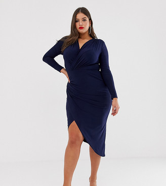 Club L London Plus twist waist wrap dress-Navy