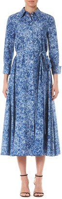 Carolina Herrera Long Sleeve Floral Midi Shirtdress