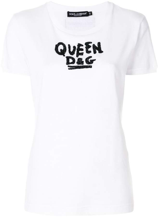 Dolce & Gabbana beaded slogan T-shirt