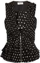 Saint Laurent Deep V-neck polka-dot print silk top