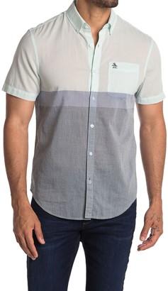 Original Penguin Short Sleeve Colorblock Trim Fit Woven Shirt