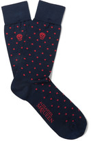 Alexander McQueen Polka-dot Stretch Cotton-blend Socks - Navy