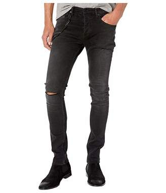 The Kooples Skinny Jeans with Leather Pocket Chain in Black Washed