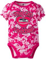 Baby Girl Seattle Seahawks Loves Football Camo Bodysuit