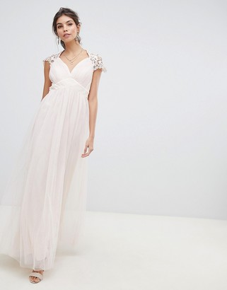 Little Mistress sheer crochet back and cap sleeve empire waist mesh maxi dress
