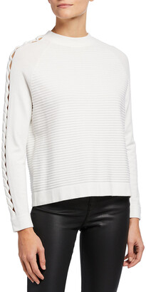Emporio Armani Cutout-Sleeve Long-Sleeve Rib-Knit Top