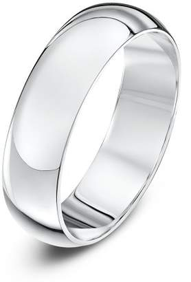 Theia Unisex 18 ct White Gold, Super Heavy D Shape, Polished, 5 mm Wedding Ring, Size W