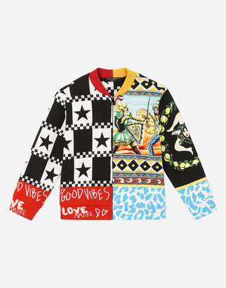 Dolce & Gabbana Zip-Up Sweatshirt With Carretto Patchwork Print