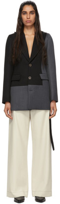 Loewe Grey and Black Wool Bicolor Blazer