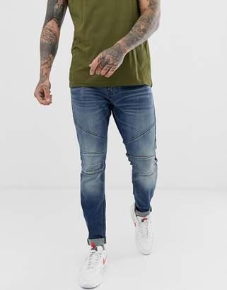 Hollister moto detail super skinny fit jeans in medium wash