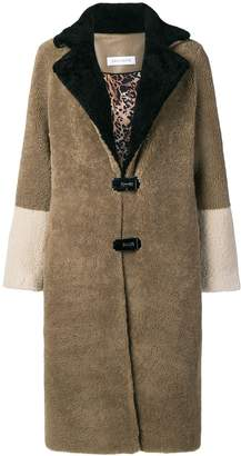 Saks Potts fur colour block coat