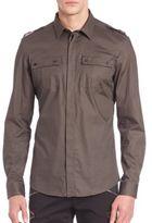 Versace Solid Cotton Blend Shirt