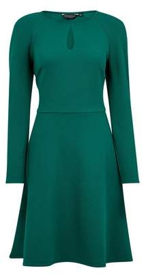 Dorothy Perkins Womens Dark Green Keyhole Fit And Flare Dress, Green
