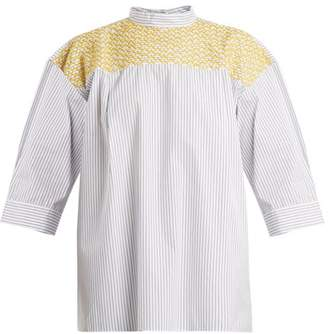 Jupe By Jackie Chao Yoke-embroidered Striped Cotton Top - Womens - White Stripe