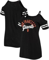 New Era Women's Black San Francisco Giants Slub Jersey Cold Shoulder T-Shirt