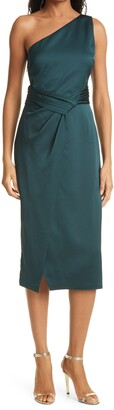 Ted Baker One-Shoulder Pleated Waist Satin Sheath Dress