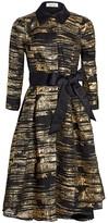 Teri Jon By Rickie Freeman Metallic Jacquard Fit-&-Flare Dress