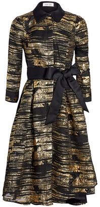 Metallic Jacquard Fit-&-Flare Dress