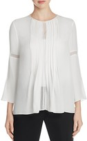 Elie Tahari Orion Crochet Trim Silk Blouse
