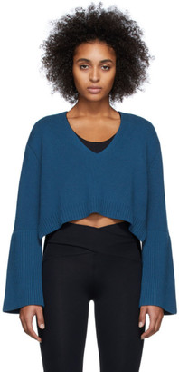 Live The Process Blue High-Low V-Neck Sweater