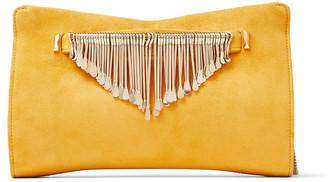 Jimmy Choo VENUS Ocra Suede Clutch Bag with Gold Metal Fringe Bracelet