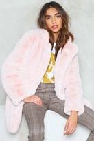 Nasty Gal Womens Surfin' Bird Faux Fur Coat - pink - M, Pink