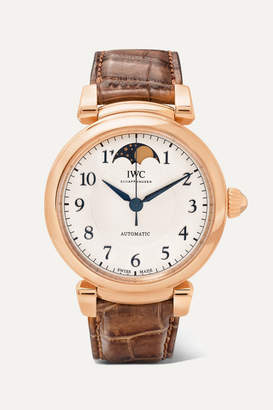 IWC Schaffhausen SCHAFFHAUSEN - Da Vinci Automatic Moon Phase 36 Alligator And 18-karat Red Gold Watch - Rose gold